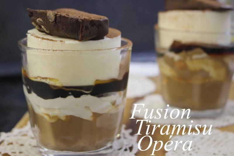 ヨーロッパ伝統菓子のティラミスとオペラをコーヒーで繋ぎアレンジする